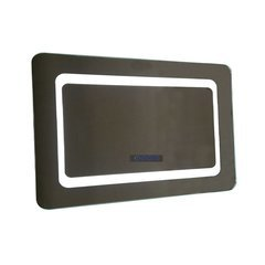 48 Inch Rectangular LED Framed Mirror with Bluetooth Speakers and Incurved Edges
