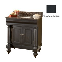 "36"" Guild Hall Single Vanity w/ Black Top - Distressed Black"