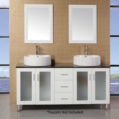"60"" Malibu Double Vessel Sink Bathroom Vanity - White"