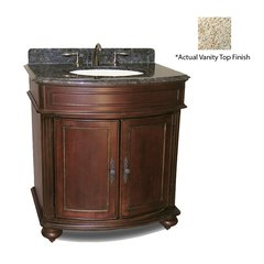"36"" Arlington Single Vanity w/ Gold Top - Distressed Cherry"
