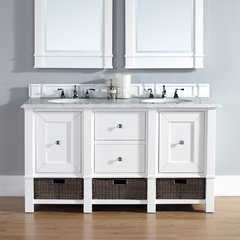 "60"" Madison Double Vanity w/ Galala Beige Top-Cott White"