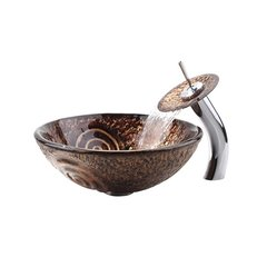 "17"" Luna Vessel Sink w/ Faucet - Multicolor/Oil Rub Bronze"