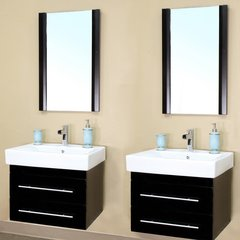 "48"" Matching Single Wall Mount Vanities - Black/White Top"