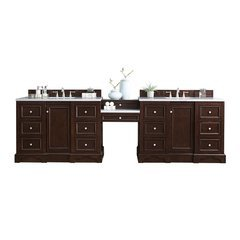 "120.5"" De Soto Double Sink Vanity w/ Marble Top - Burnished Mahogany"