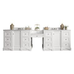 "120.5"" De Soto Double Sink Vanity w/ Marble Top - Bright White"