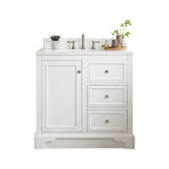 "37.25"" De Soto Single Sink Vanity w/ Quartz Top - Bright White"