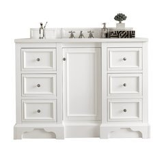 "49.25"" De Soto Single Sink Vanity w/ Marble Top - Bright White"