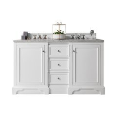 "61.25"" De Soto Double Sink Vanity w/ Granite Top - Bright White"