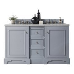 "61.25"" De Soto Double Sink Vanity w/ Solid Surface Top - Silver Gray"