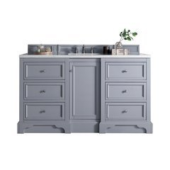 "61.25"" De Soto Single Sink Vanity w/ Quartz Top - Silver Gray"