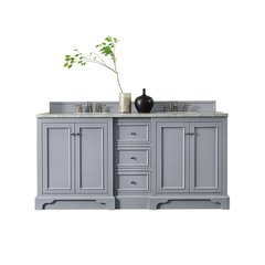 "73.25"" De Soto Double Sink Vanity w/ Marble Top - Silver Gray"