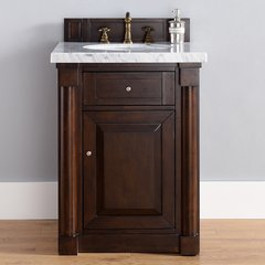 "26"" New Haven Single Vanity w/ Galala Beige Top-Burn Mahog"