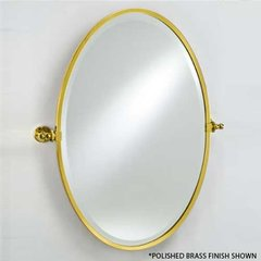 "Radiance Gear Tilt 18"" Oval Mirror - Satin Nickel"