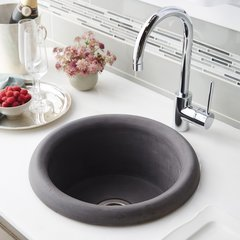 "16"" Round Pozo NativeStone Drop In Bar Sink - Slate"