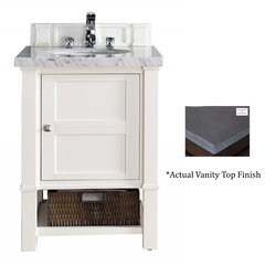 "26"" Madison Single Vanity w/Black Rustic Top - Cottage White"