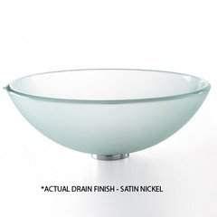"14"" Frosted Vessel Sink w/ Drain -Frost Glass/Satin Nickel"