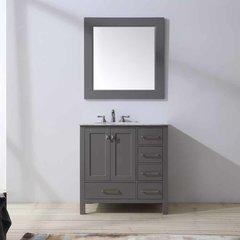 "36"" Malibu Single Vanity - Gray/Carrara White Top"