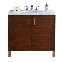 """36"""" Metropolitan Single Sink Vanity w/ Granite Top - American Walnut"""