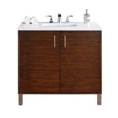 "36"" Metropolitan Single Sink Vanity w/ Quartz Top - American Walnut"