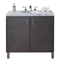 "36"" Metropolitan Single Sink Vanity w/ Marble Top - Silver Oak"