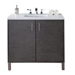 "36"" Metropolitan Single Sink Vanity w/ Quartz Top - Silver Oak"