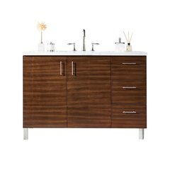 "48"" Metropolitan Single Sink Vanity w/ Solid Surface Top - American Walnut"