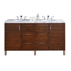 "60"" Metropolitan Double Sink Vanity w/ Marble Top - American Walnut"