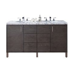 "60"" Metropolitan Double Sink Vanity w/ Granite Top - Silver Oak"