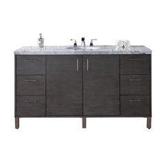 """60"""" Metropolitan Single Sink Vanity w/ Granite Top - Silver Oak"""