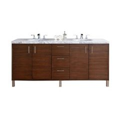 "72"" Metropolitan Double Sink Vanity w/ Granite Top - American Walnut"