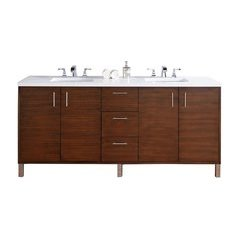 "72"" Metropolitan Double Sink Vanity w/ Quartz Top - American Walnut"