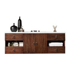 "60"" Sonoma Single Sink Vanity w/ Quartz Top - Coffee Oak"