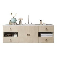 "60"" Sonoma Single Sink Vanity w/ Quartz Top - Vanilla Oak"