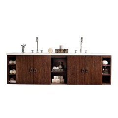 "72"" Sonoma Double Sink Vanity w/ Quartz Top - Coffee Oak"