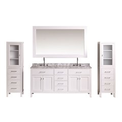 "72"" London Double Sink Bathroom Vanity Combo - White"