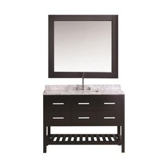 "54"" London Single Vanity w/ White Carrera Top - Espresso"