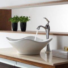 "15"" White Tulip Vessel Sink w/ Faucet- White/Chrome"