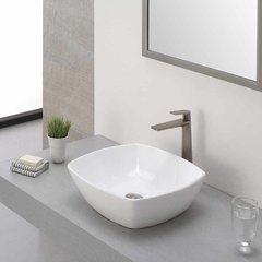 Aplos One Handle Vessel Bathroom Faucet w/ Drain-BrushNickel