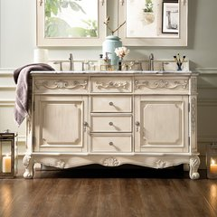 "60"" Costa Blanca Double Vanity w/Carrara White Top-Vanilla"