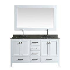 """60"""" London Double Vanity w/ Gray Quartz Top & Mirror-White"""