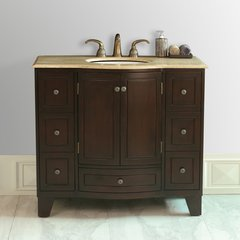 "40"" Grand Cheswick Single Vanity - Dark Cherry/Travertine"