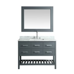 "54"" London Single Vanity w/ White Carrera Top - White"