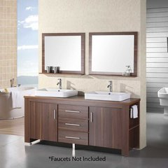 "72"" Washington Double Vessel Sink Bathroom Vanity - Toffee"
