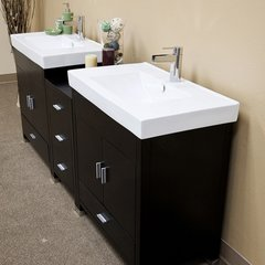 "80"" Double Sink Bathroom Vanity - Black/White Top"