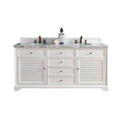 "72"" Savannah Double Vanity w/Cararra White Top-Cottage White"