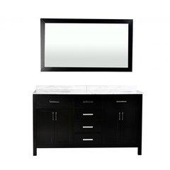 "60"" Hampton Double Sink Bathroom Vanity - Black"