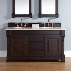 "60"" Brookfield Double Vanity w/ Galala Beige Top-Burn. Mahog"