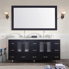 "73"" Americano Double Sink Bathroom Vanity - Black"