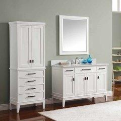 """49"""" Madison Single Vanity - White w/ Carrara White Top"""
