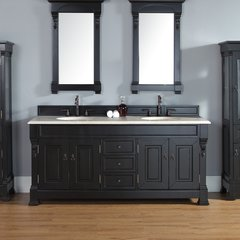 "72"" Brookfield Double Vanity w/ Galala Beige Top-Ant. Black"